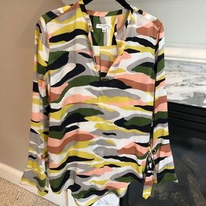 Equipment silk tie sleeve blouse